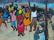 Dancing Couples Paintings - Village Dance Under The Pergola by Nicole Jean-louis
