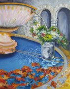 Fountain Paintings - Village Fountain by Lisa Boyd