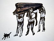 Shoulder Drawings Originals - Village Funeral by Aquira Kusume