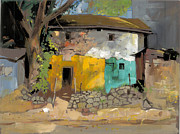 Garden Scene Drawings Posters - Village House 1 Poster by Milind Mulick