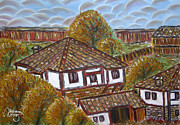 Village Pastels Prints - Village Houses Print by Valentina Kross