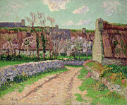Dry Stone Wall Framed Prints - Village in Clohars Framed Print by Henry Moret