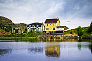 Cabins Framed Prints - Village in Newfoundland Framed Print by Elena Elisseeva