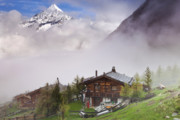Matterhorn Prints - Village in Switzerland with matterhorn Behind Print by Andre Goncalves