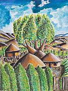 Ken Prints - Village in the Trees Print by Ken Nganga