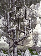 Surreal Landscape Drawings Originals - Village by Jeremy Baum