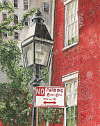 Brick Buildings Prints - Village Lamplight Print by Debbie DeWitt