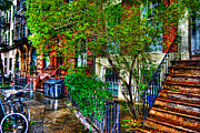 Townhouse Prints - Village Life Print by Randy Aveille