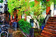 Nyc Digital Art Metal Prints - Village Life Sketch Metal Print by Randy Aveille
