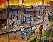 Haitian Paintings - Village Market by Emmanuel Dostaly