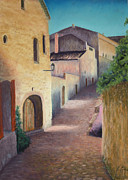Medieval Pastels Prints - Village of Baux Print by Carol Conrad