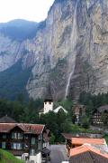 Steeples Posters - Village Of Lauterbrunnen With Staubach Poster by Anne Keiser
