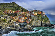 Architectural Structures Posters - Village of Manarola - Cinque Terre - Italy Poster by JH Photo Service