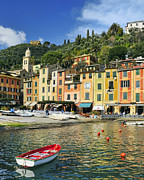 Portofino Restaurant Framed Prints - Village of Portofino - Liguria - Italy Framed Print by JH Photo Service