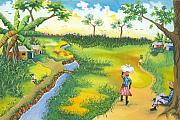 Haitian Paintings - Village Scene by Herold Alveras