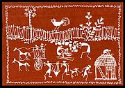 Village Scene In Warli Tribal Art Print by Jey Manokaran