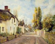 Thatched Cottage Prints - Village Street Scene Print by Charles James Fox