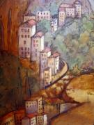 Mediterranean Landscape Mixed Media Posters - Village View Poster by Katherine Boritzke