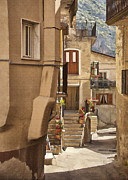 Italian Window Prints - Village Walkway Print by Sharon Foster