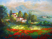 Gina Posters - Village with poppy fields  Poster by Gina Femrite