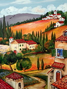 Toscana Paintings - Villaggio toscano by Roberto Gagliardi