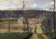 Tree Lined Paintings - Ville dAvray by Jean Baptiste Camille Corot