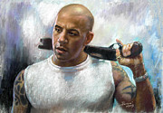 Private Pastels Prints - Vin Diesel Print by Ylli Haruni