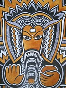 Indian Tribal Art Drawings - Vinayaka by Paritosh Pal