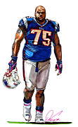 Espn Drawings Framed Prints - Vince Wilfork Framed Print by Dave Olsen