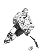Hockey Drawings Framed Prints - Vincent Lecavalier Framed Print by Murphy Elliott