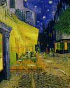 Square Tapestries Textiles Prints - Vincent van Gogh Print by Cafe Terrace Arles