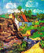 Cafe Terrace Art - Vincent Van Gogh Houses at Auvers  by Pg Reproductions