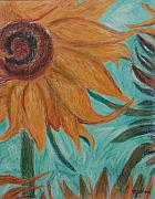 Van Pastels Prints - Vincents Sunflower Print by Marina Garrison