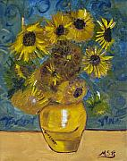 Vangogh Originals - Vincents Sunflowers by Maria Soto Robbins