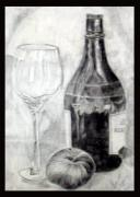 Glass Bottle Drawings Originals - Vine N Apple by Agha Sumera