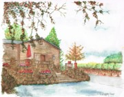 Watercolors Painting Originals - Vineyard -1-Sonoma-CA by Carlos G Groppa