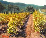 Autumn Vineyards Paintings - Vineyard Alt Penedes by Juan Jose Abenza
