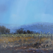 Haze Painting Prints - Vineyard Bet Zeit Print by Robert Selkirk