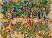 Wine Vineyard Mixed Media Prints - Vineyard Print by Edith Hardaway