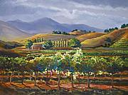 California Vineyard Painting Metal Prints - Vineyard in California Metal Print by Heather Coen