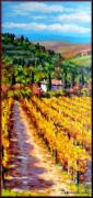 Tuscan Sunset Paintings - Vineyard in Tuscany by Mario Bendinelli