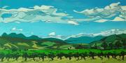 Vines Paintings - Vineyard Landscape by John Gibbs