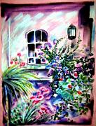 Napa Pastels Posters - Vineyard Patio Poster by Sandy Ryan