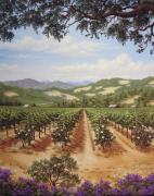 Napa Valley Vineyard Paintings - Vineyard Roses by Patrick ORourke