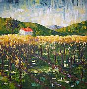 South Of France Paintings - Vineyard South of France by Frederic Payet