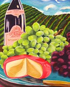 Grapevines Paintings - Vineyard Still life by Michelle Hayden-Marsan