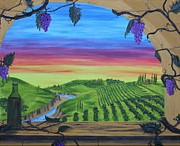 Tuscan Sunset Painting Prints - Vineyard Sunset Print by Carol Frances Arthur