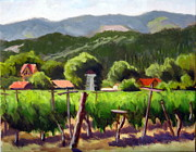 Calistoga Painting Posters - Vineyard Temple Poster by Char Wood