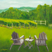Grapevines Painting Prints - Vineyards of Sogn Valley Print by Susan Fuglem