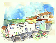 Townscape Drawings Framed Prints - Vinhais in Portugal 01 Framed Print by Miki De Goodaboom